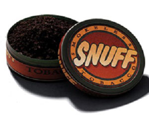 One type of smokeless tobacco: snuff