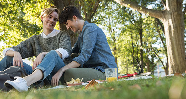 Lesbian couple having a picnic