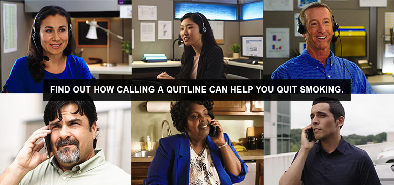 Find out how calling a quitline can help you quit smoking - diverse photos of people on the phone