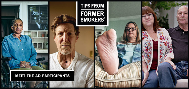 Tips from Former Smokers montage showing participants Tonya, Michael F., Leah and Assad, and Christine
