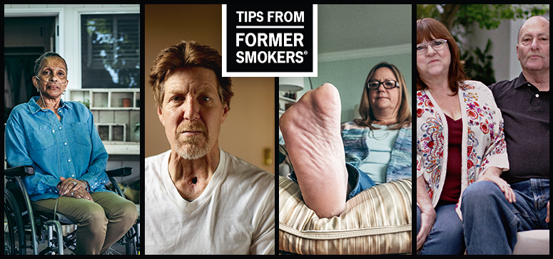 Tips from Former Smokers montage showing participants Tonya, Michael F., Leah and Asaad, and Christine