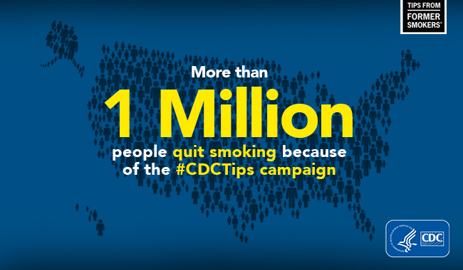 More than 1 million people quit smoking because of the #CDCTips campaign.