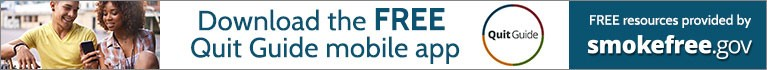 Download the FREE Quit Guide mobile app FREE resources provided by smokefree.gov