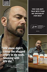 Poster of Brian highlighting the complications of smoking with HIV.