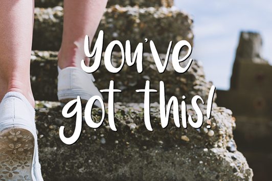 You've Got This! Picture of a person running up stairs.