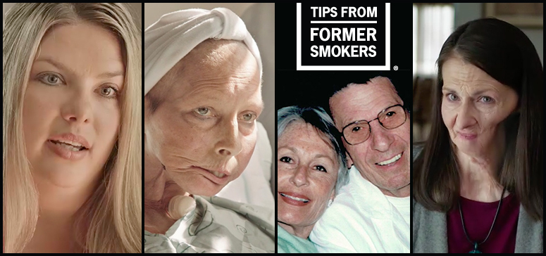 Tips from Former Smokers montage showing participants Dana, Terrie, Leonard and wife Susan, and Christine