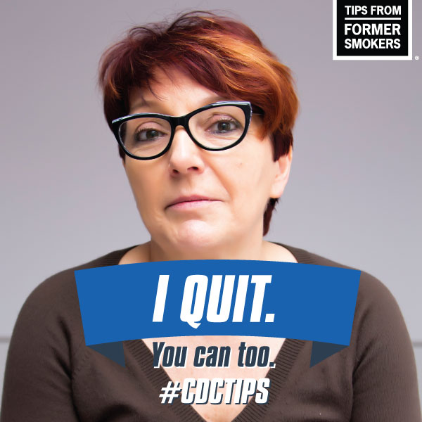 I Quit. You can too. #CDCTIPS - picture of a woman with glasses. This is a Facebook Frame.