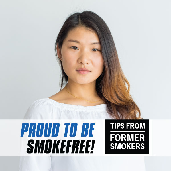 Proud to be Smokefree! Tips from Former Smokers - picture of a young woman. This is a Facebook Frame.