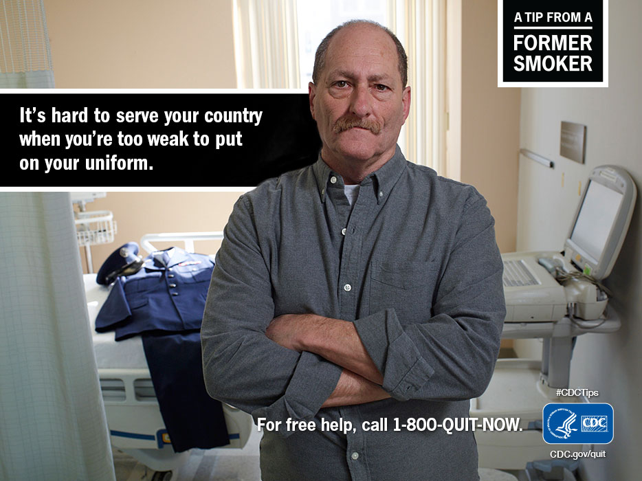 A Tip From A Former Smoker: It's hard to serve your country when you're too weak to put on your uniform. For free help, call 1-800-QUIT-NOW.