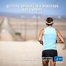 Photo of a jogger with the caption: Quitting Smoking is a Marathon, Not a Sprint