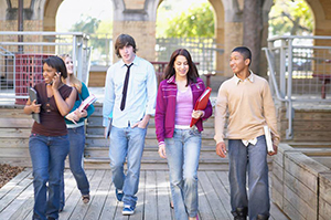 Youth walking to class