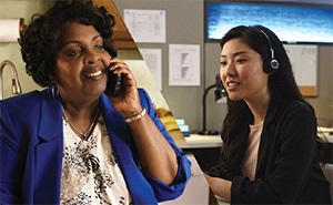 Split screen of woman on a call with insurance representative