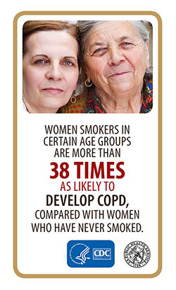 Image of two women with the caption reading: Women Smokers in certain age groups are more than 38 times as likely to develop COPD, compared withwomen who have never smoked.