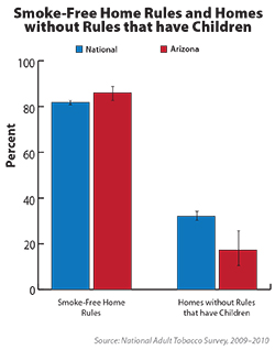 Chart shows adults who reported anyone smoking in the home within the past two weeks.