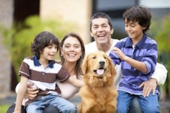 Hispanic/Latino family with dog