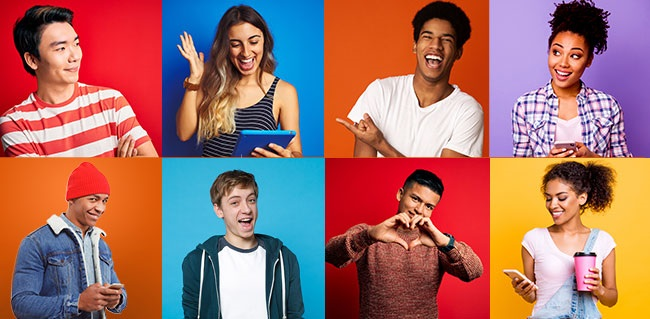 Montage of ethnically diverse, happy young people
