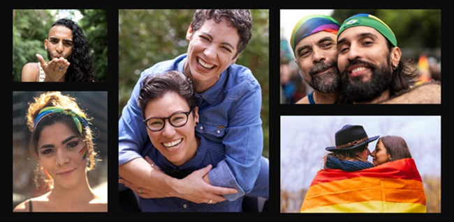 Montage of LGBTQ people wearing Pride colors