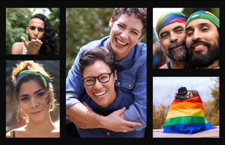 Montage of LGBTQ people displaying Pride colors