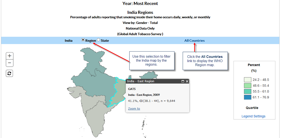 1. Use this selection to filter the India map by the regions. 2. Click the All Countries link to display the WHO Region map.