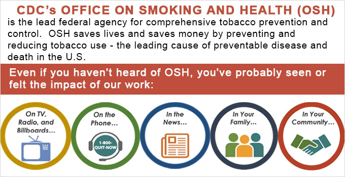 CDC's Office on Smoking and Health (OSH) is the lead federal agency for comprehensive tobacco prevention and control. OSH saves lives and saves money by preventing and reducing tobacco use - the leading cause of preventable disease and death in the U.S. - Icon with TV - On TV, radio, and billboards - Icon with headset - on the phone -1-800-QUIT-NOW - Icon of newspaper - In the news - Icon of people - In Your family - Icon of hands shaking - In your community
