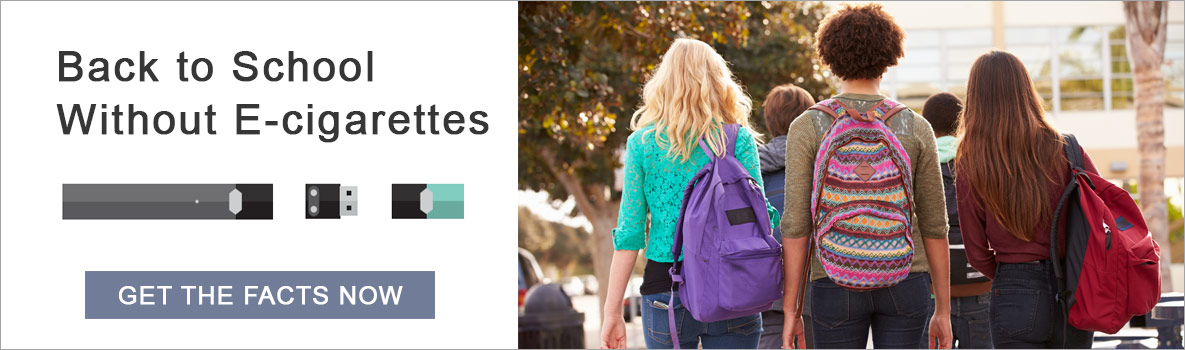 Back to School Without E-cigarettes - Get the facts now. - A group of diverse teenagers with backpacks