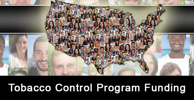 Tobacco Control Program Funding - image of the United States with people filled in and also images of diverse people in the background