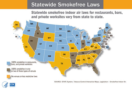 Map showing statewide smokefree laws