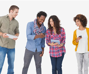Group of people looking at each other's phones and tablets