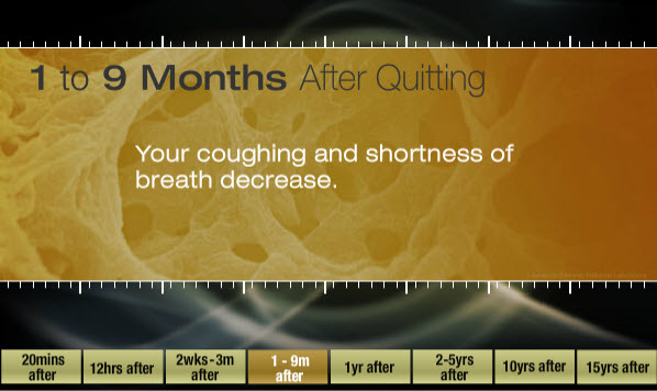 One to 9 months after quitting: Your coughing and shortness of breath decreases.
