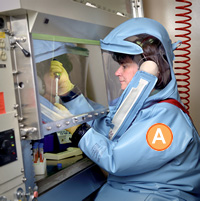 Woman working in a BSL-4 laboratory. She is wearing a full positive pressure suit. No skin is exposed; her air supply can be seen on the back of her suit. She working within a BSC.