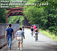 Pedestrians and bicyclists enjoy a multi-use train near Lehighton, Pennsylvania.