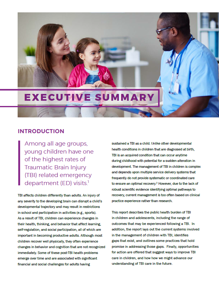 Executive Summary - Report to Congress: Management of TBI in Children
