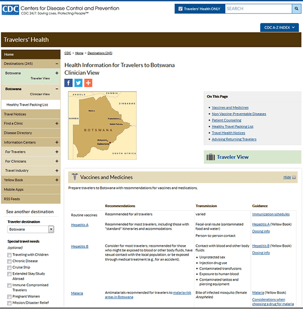 Figure 1-02. CDC Travelers' Health website sample destination page