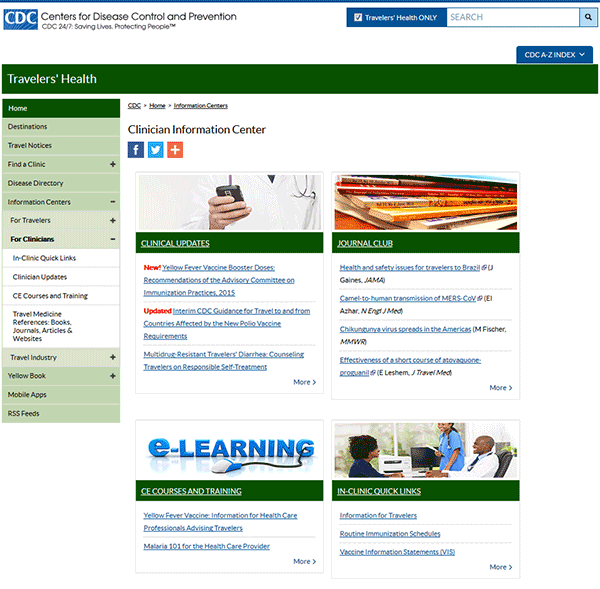 Figure 1-03. CDC Travelers' Health website clinician information center