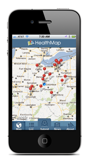 Figure C-02. Screenshot of Outbreaks Near Me mobile application