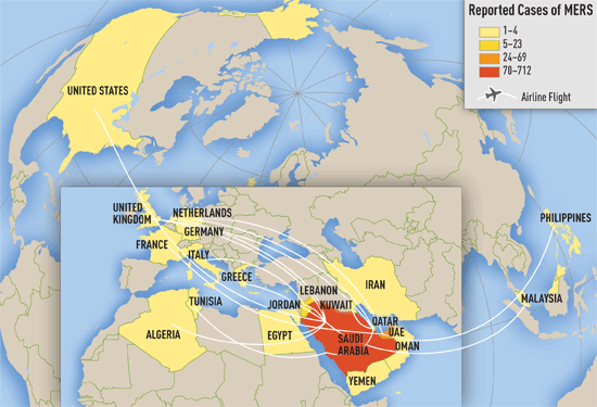Map 1-01. Distribution of confirmed cases of Middle East Respiratory Syndrome by reporting country