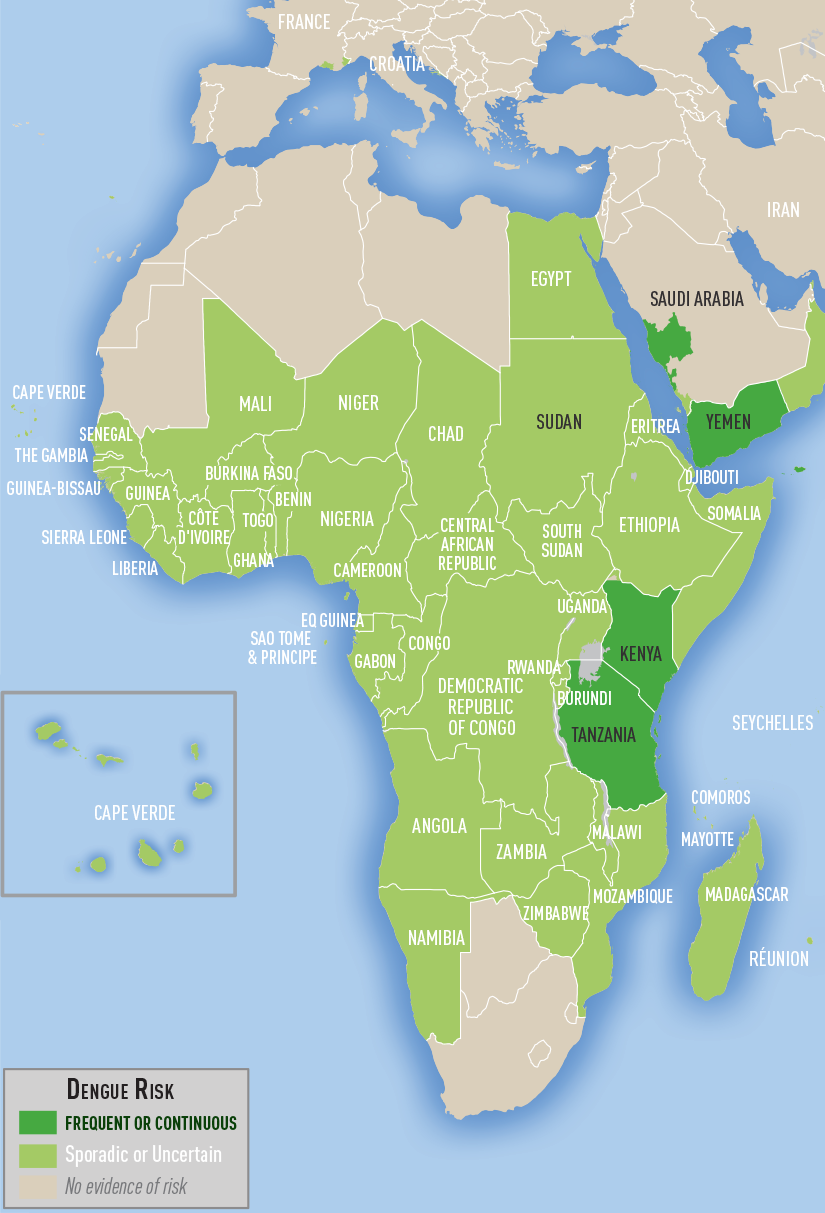 Map 3-02. Distribution of dengue in Africa and the Middle East