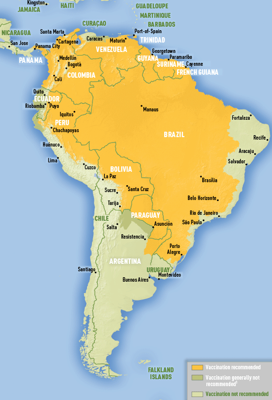 Map 3-16. Yellow fever vaccine recommendations in the Americas