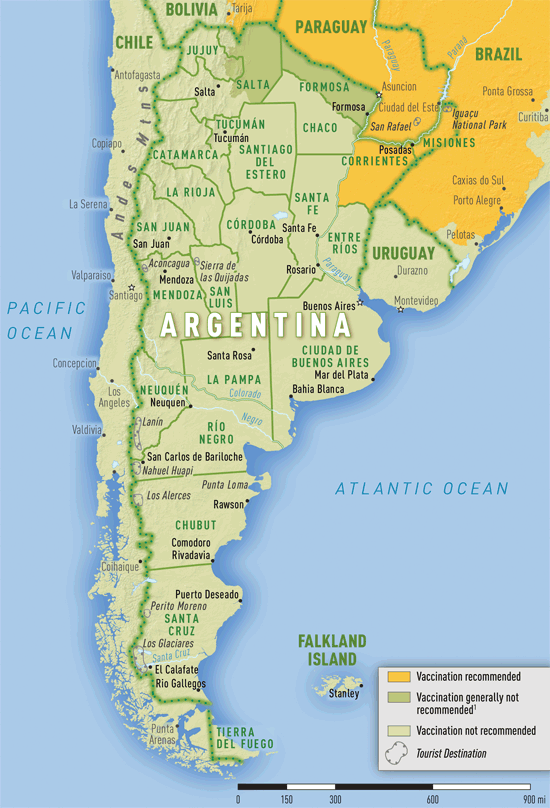Yellow Fever and Malaria Information by Country Chapter 3 2016 – Tourist Map of Argentina
