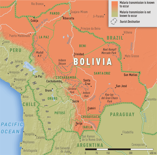 Map 3-19. Malaria transmission areas in Bolivia
