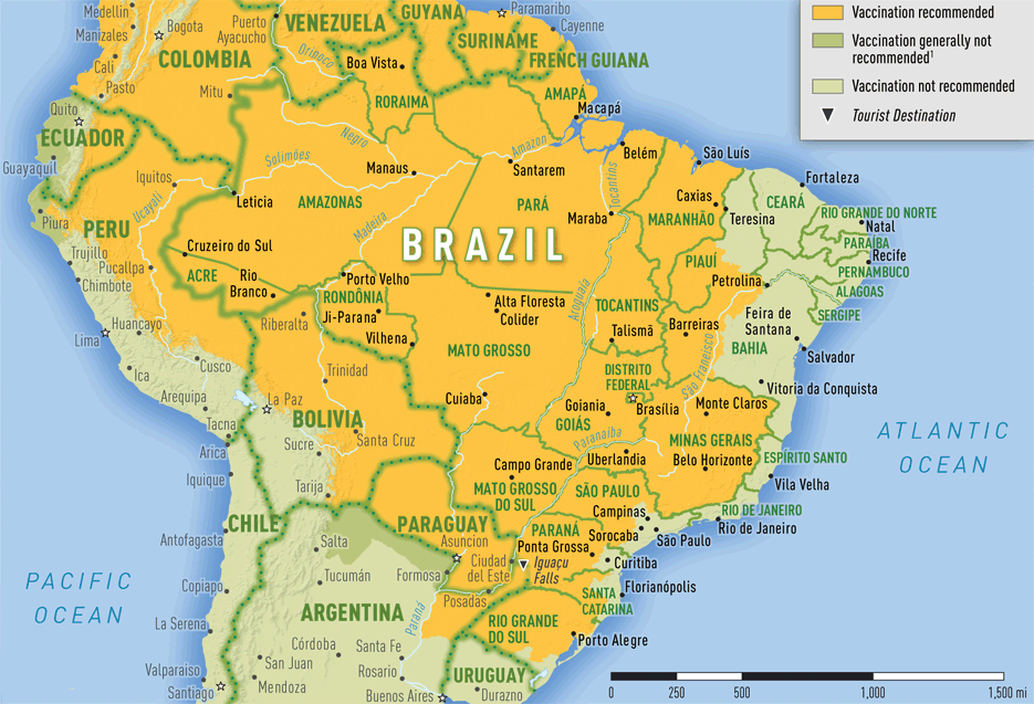 Map 3-21. Yellow fever vaccine recommendations in Brazil