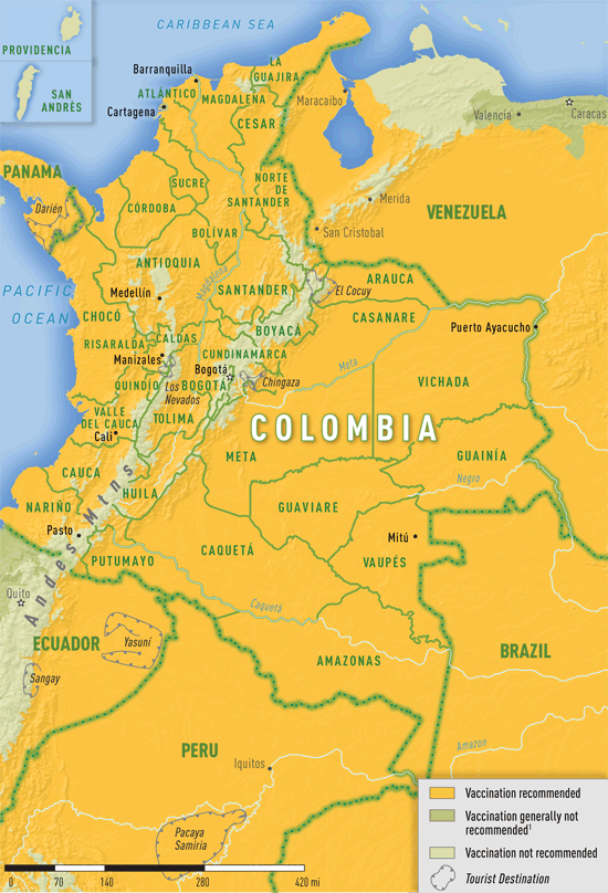 Map 3-24. Yellow fever vaccine recommendations in Colombia