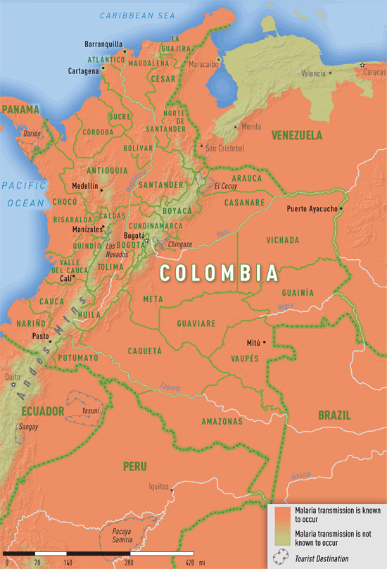 Map 3-25. Malaria transmission areas in Colombia