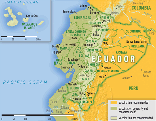 Map 3-26. Yellow fever vaccine recommendations in Ecuador