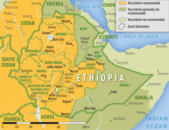 Map 3-28. Yellow fever vaccine recommendations in Ethiopia