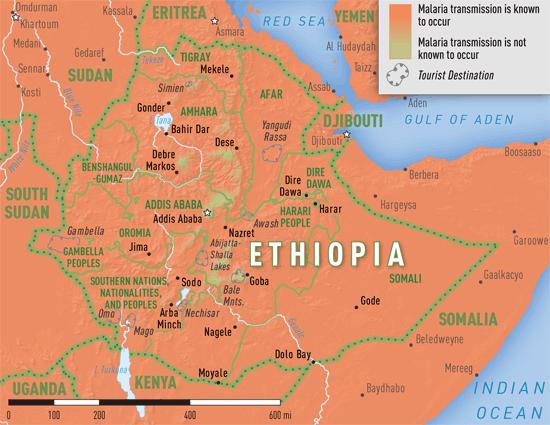 Map 3-29. Malaria transmission areas in Ethiopia