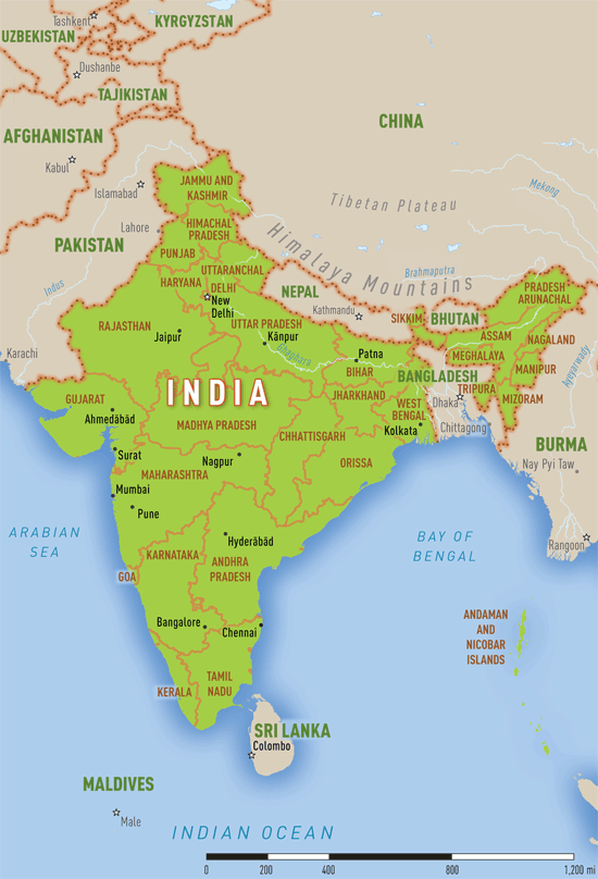 Map 3-30. India reference map