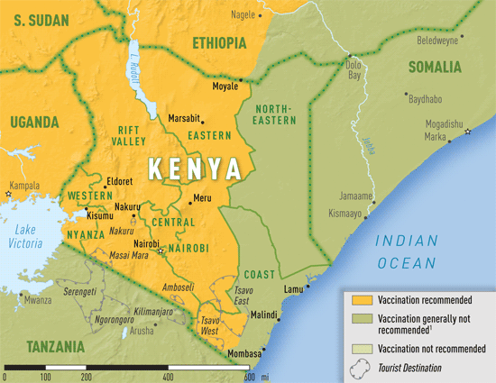 Map 3-31. Yellow fever vaccine recommendations in Kenya