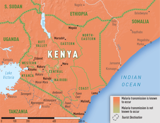 Map 3-32. Malaria transmission areas in Kenya