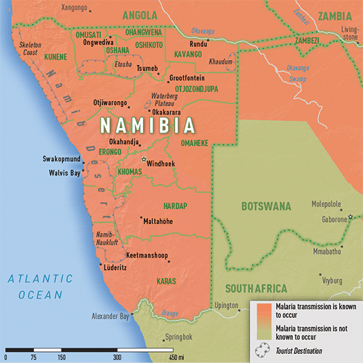 Map 3-34. Malaria transmission areas in Namibia